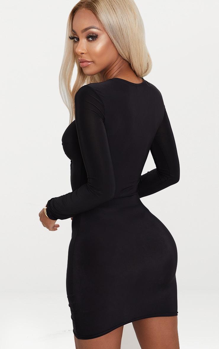 Shape Black Slinky Cut Out Long Sleeve Bodycon Dress 2