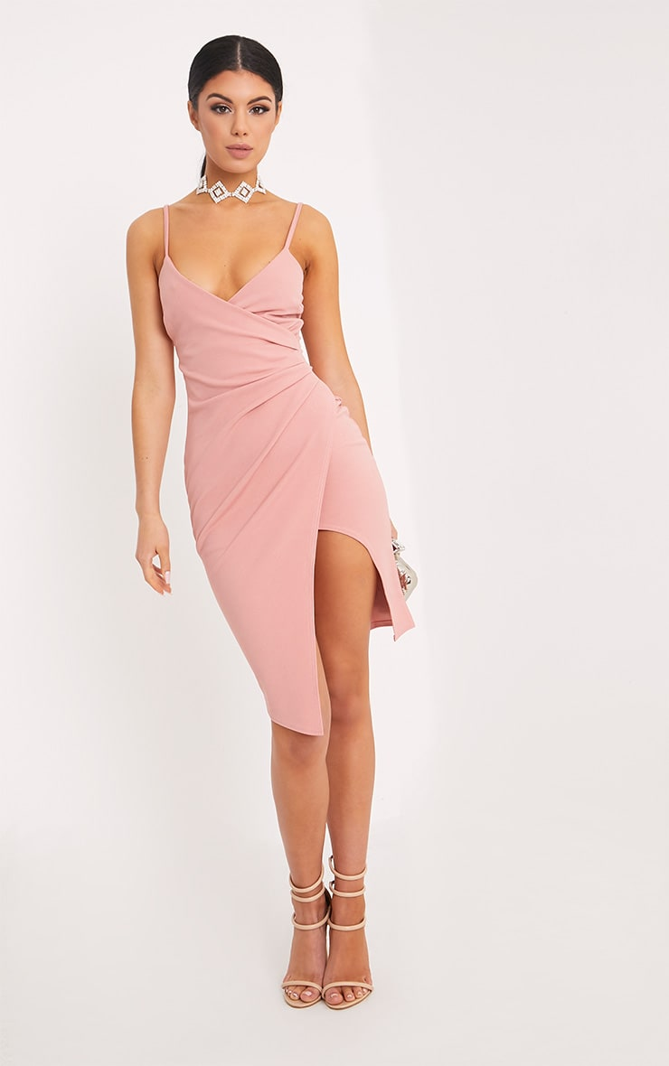 Lauriell Rose Wrap Front Crepe Midi Dress