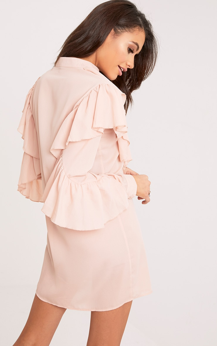 Jezmeena Dusty Pink Frill Detail Shirt Dress 2