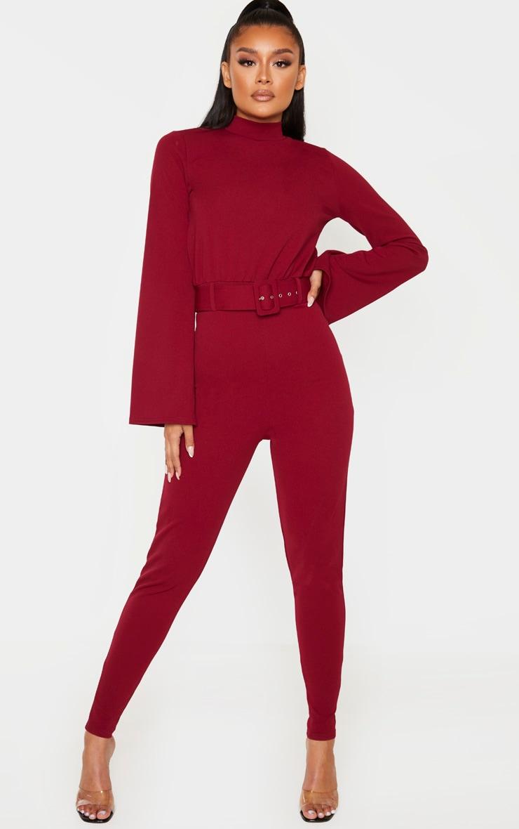Burgundy Belt Detail High Neck Long Sleeve Jumpsuit 1