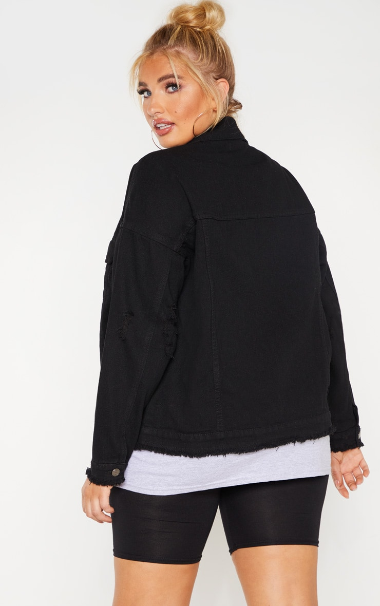 Plus Black Distressed Oversized Denim Jacket 2