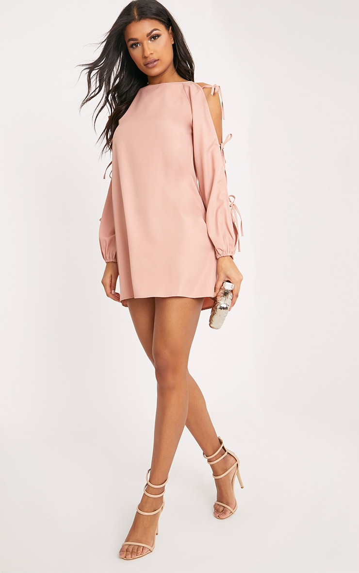 Ryna Dusty Pink Cold Shoulder Tie Sleeve Shift Dress  4