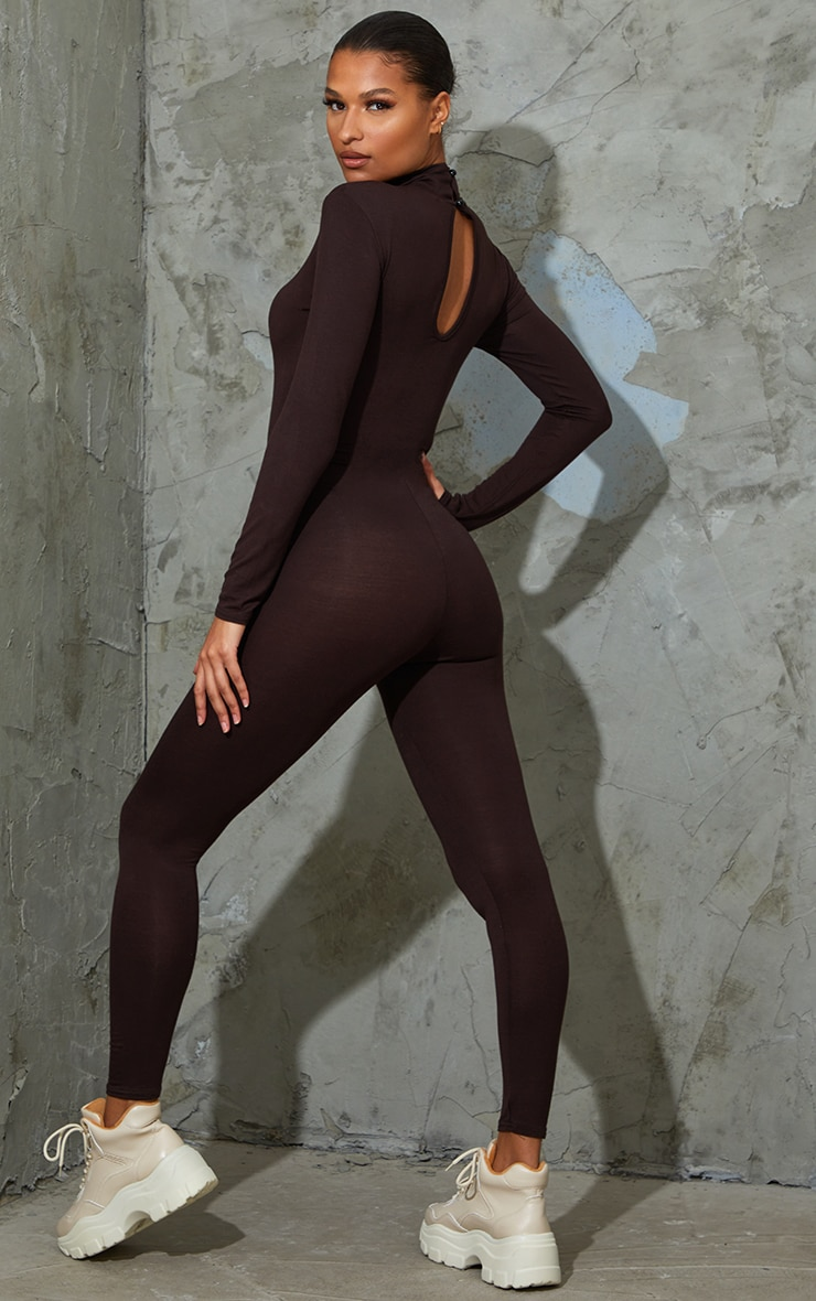 Chocolate Roll Neck Long Sleeve Jumpsuit 2
