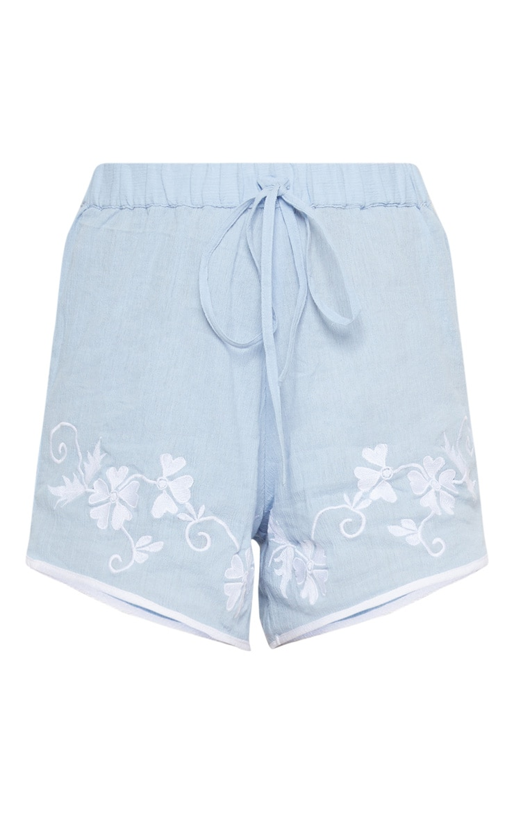 Blue Embroidered Hem Shorts 5