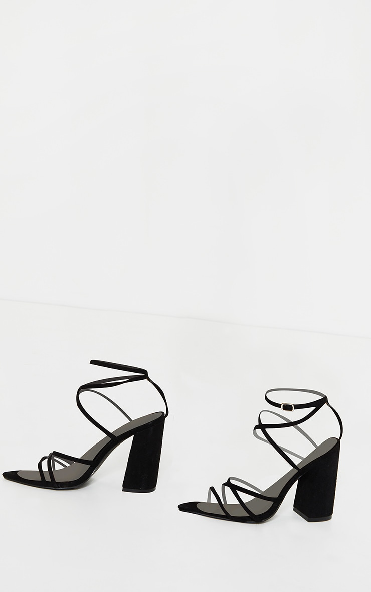 Black Faux Suede Strappy Point Toe Block Heel Sandals 3