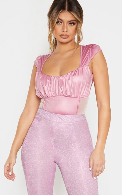 Dusty Pink Ruched Bust Panelled Mesh Bodysuit