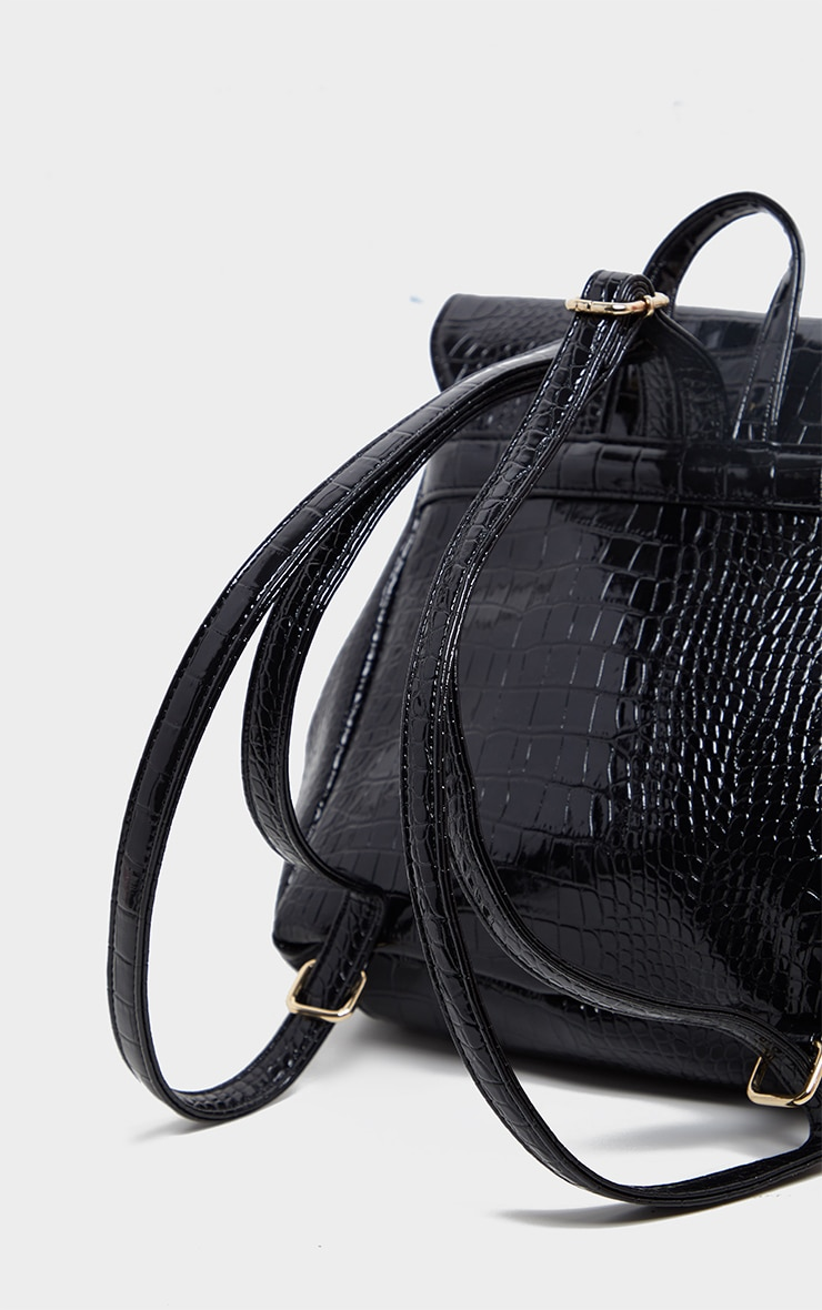 Black Patent Croc PU Large Backpack 3