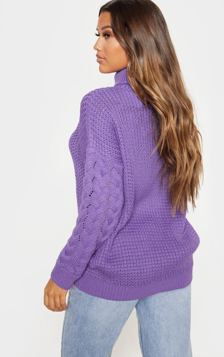Violet Chunky Knitted Cable Sleeve Jumper  2