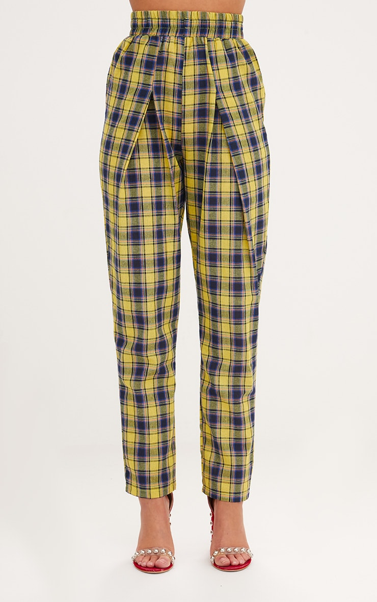 Yellow Check Front Pleat Casual Trousers 2