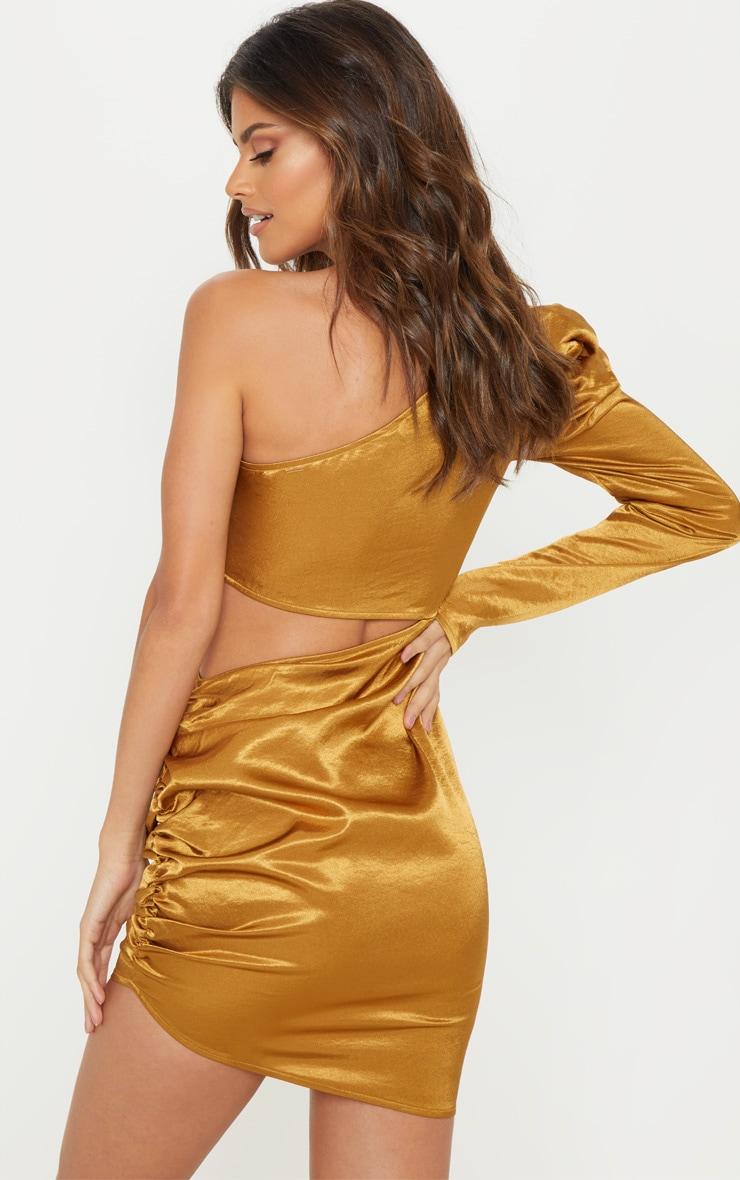 Golden Mustard One Shoulder Cut Out Bodycon Dress 2