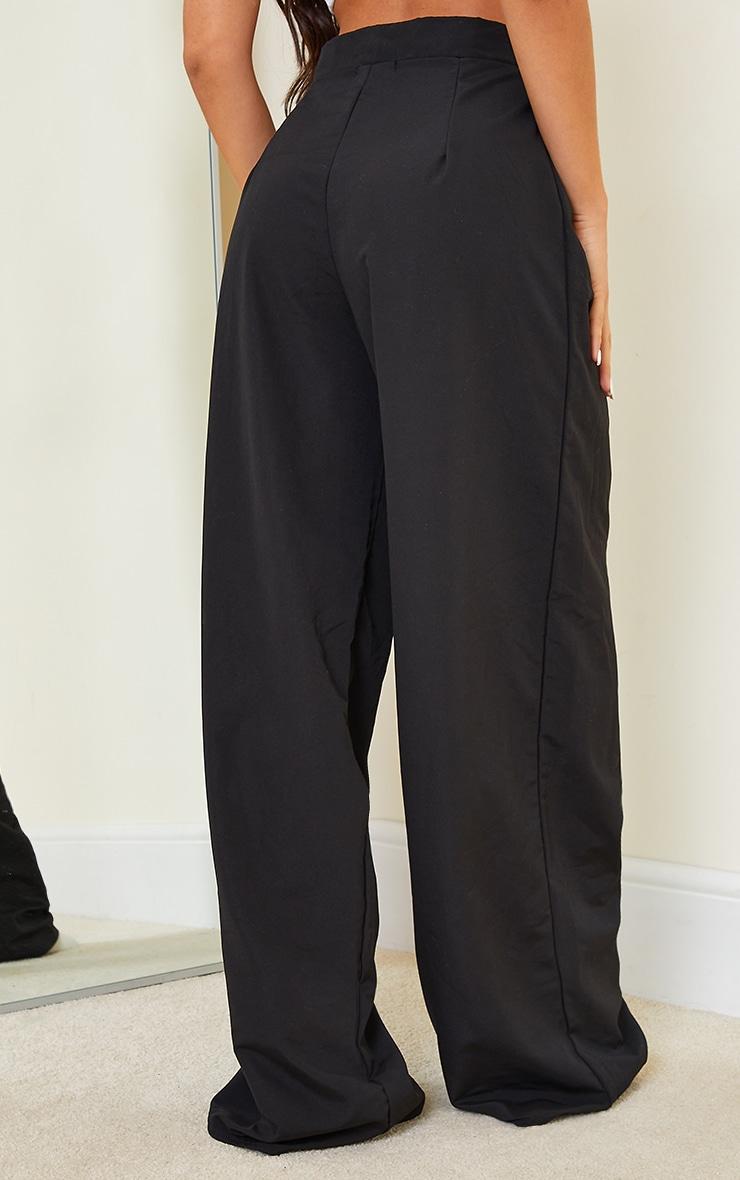 Black Woven Pleat Detail Extreme Wide Leg Trousers 3