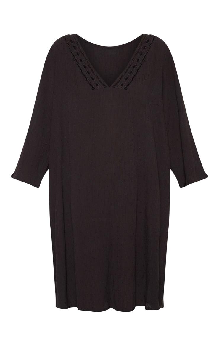 Black Crochet Trim Smock Dress 3