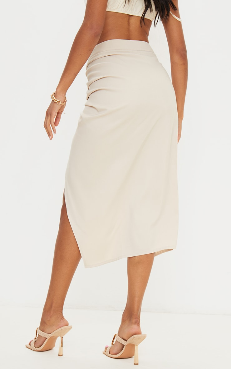 Champagne Woven Ruched Detail Midi Skirt 3