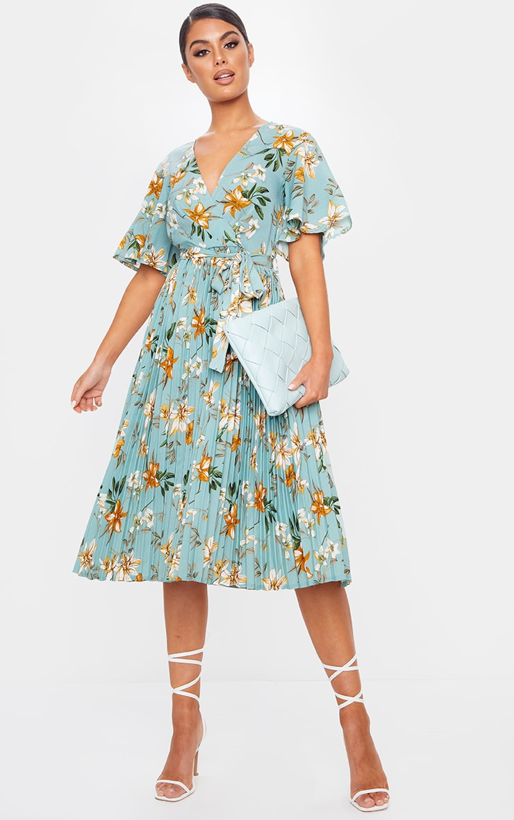 Sage Green Floral Pleated Midi Dress 1