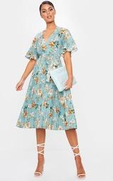 Sage Green Floral Pleated Midi Dress 1