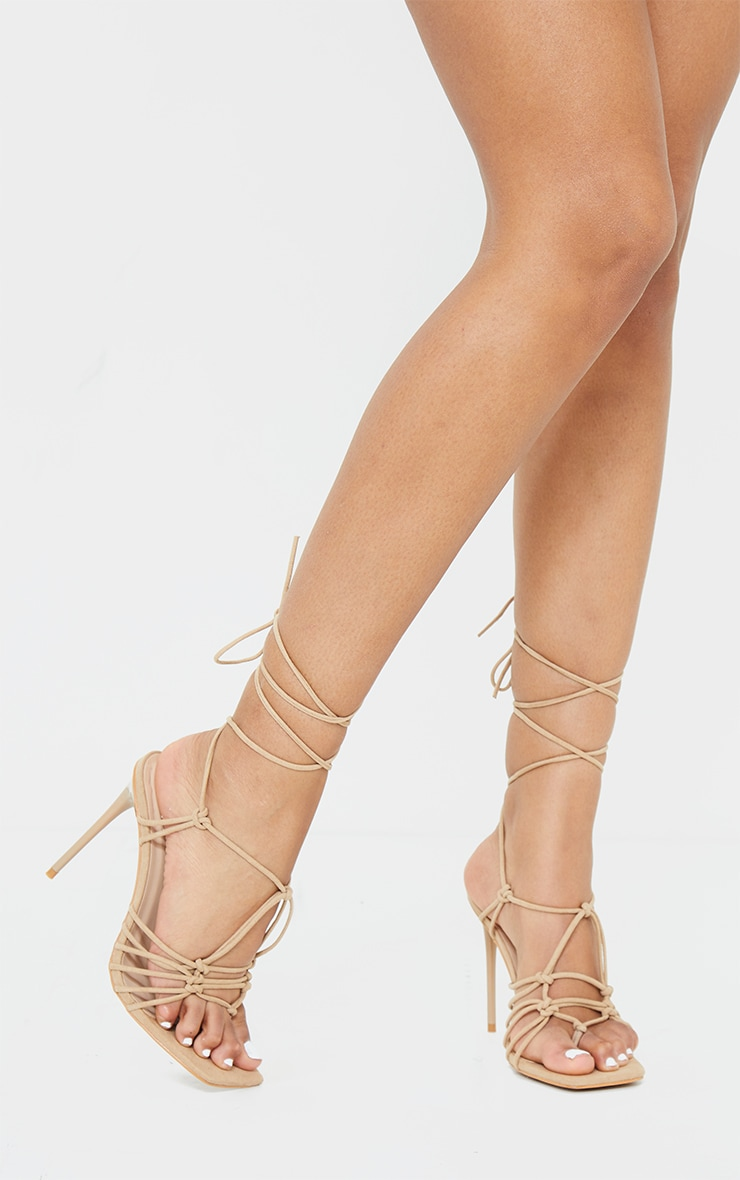 Sand Knot Detail Lace Up High Heels 1