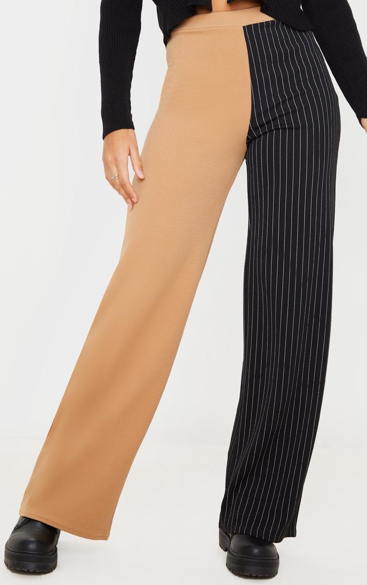 Camel Pinstripe Contrast Leg Wide Leg Pants 2