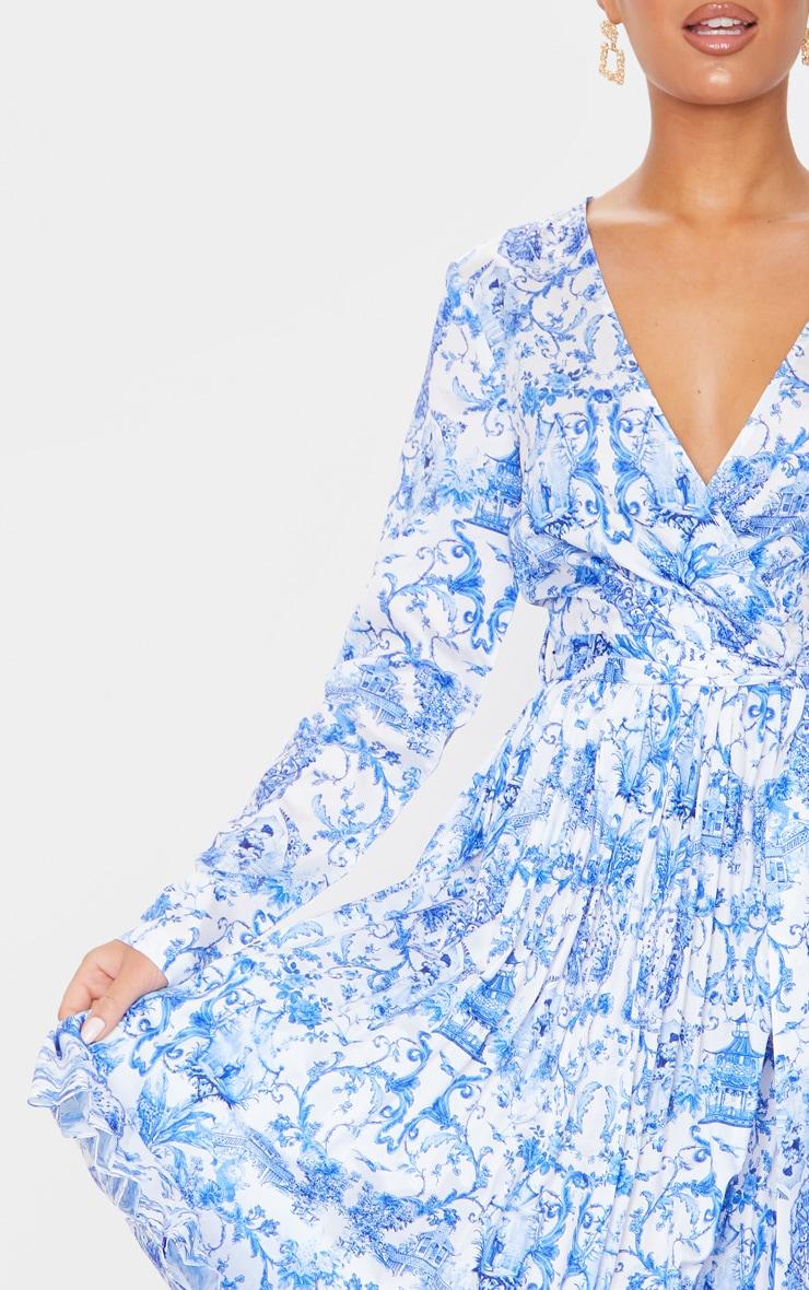 Blue Porcelain Print Long Sleeve Pleated Midi Dress 4