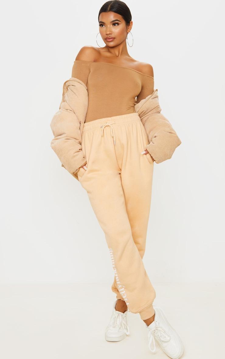 Basic Navy & Camel 2 Pack Bardot Longsleeve Thong Bodysuit  5