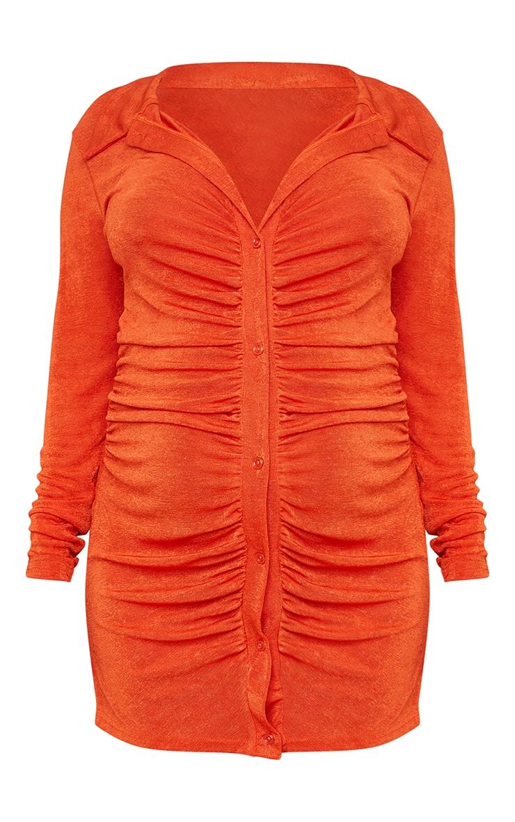 Maternity Orange Textured Slinky Collar Dress 5