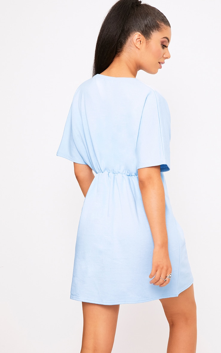 Baby Blue Waist Detail Sweater Dress 2