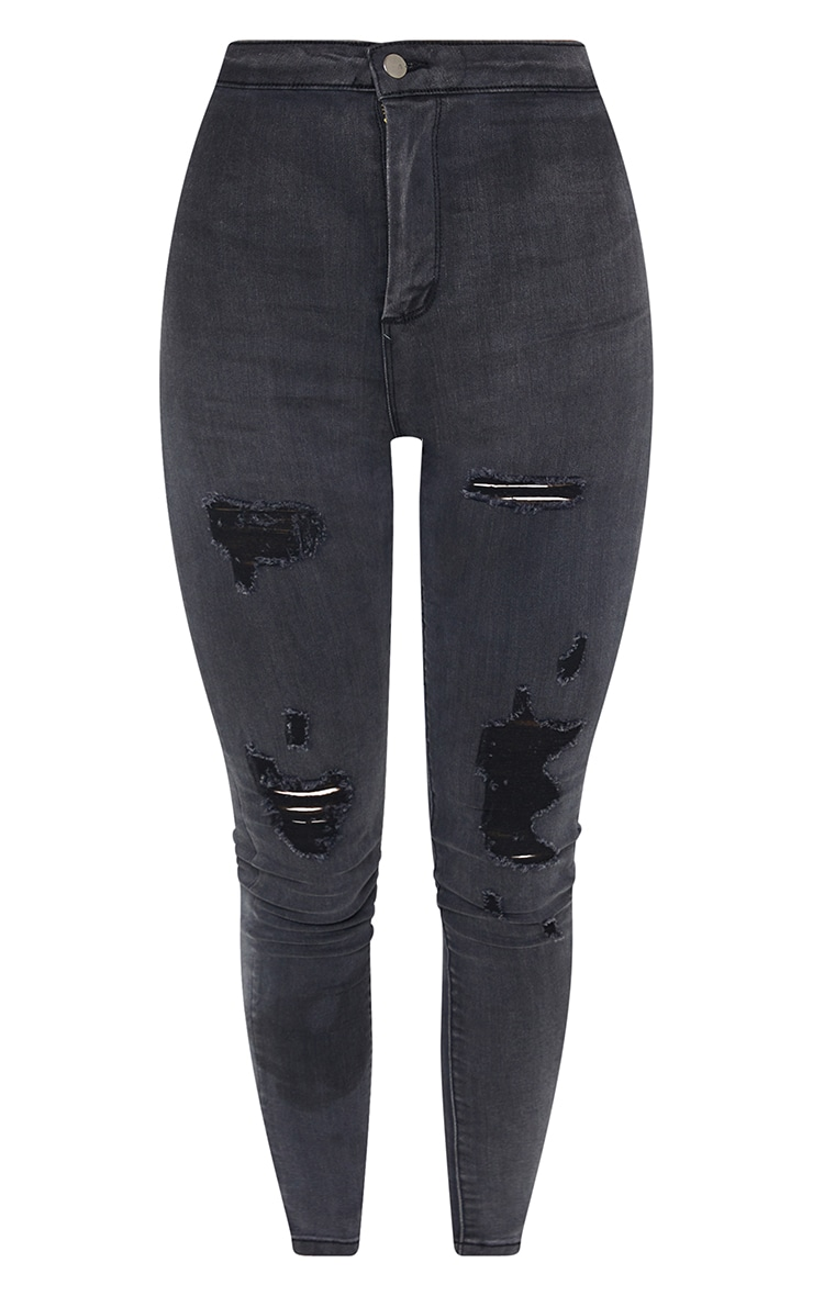 PRETTYLITTLETHING Washed Black Distressed Disco Skinny Jean 5