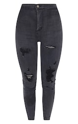 PRETTYLITTLETHING Washed Black Ripped Disco Skinny Jeans 5