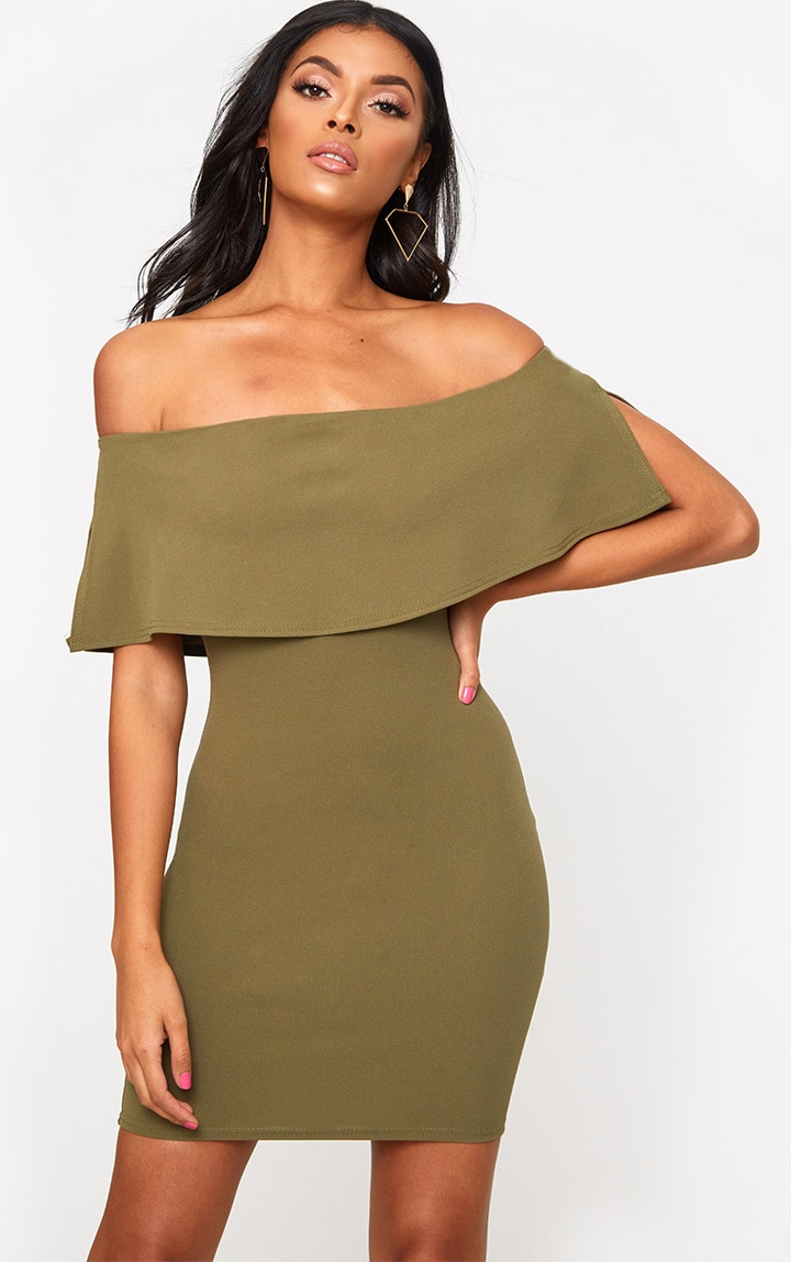 Khaki Bardot Frill Bodycon Dress 1