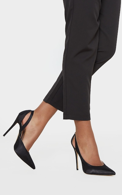 Black Satin Cut Out Heel Court Shoe