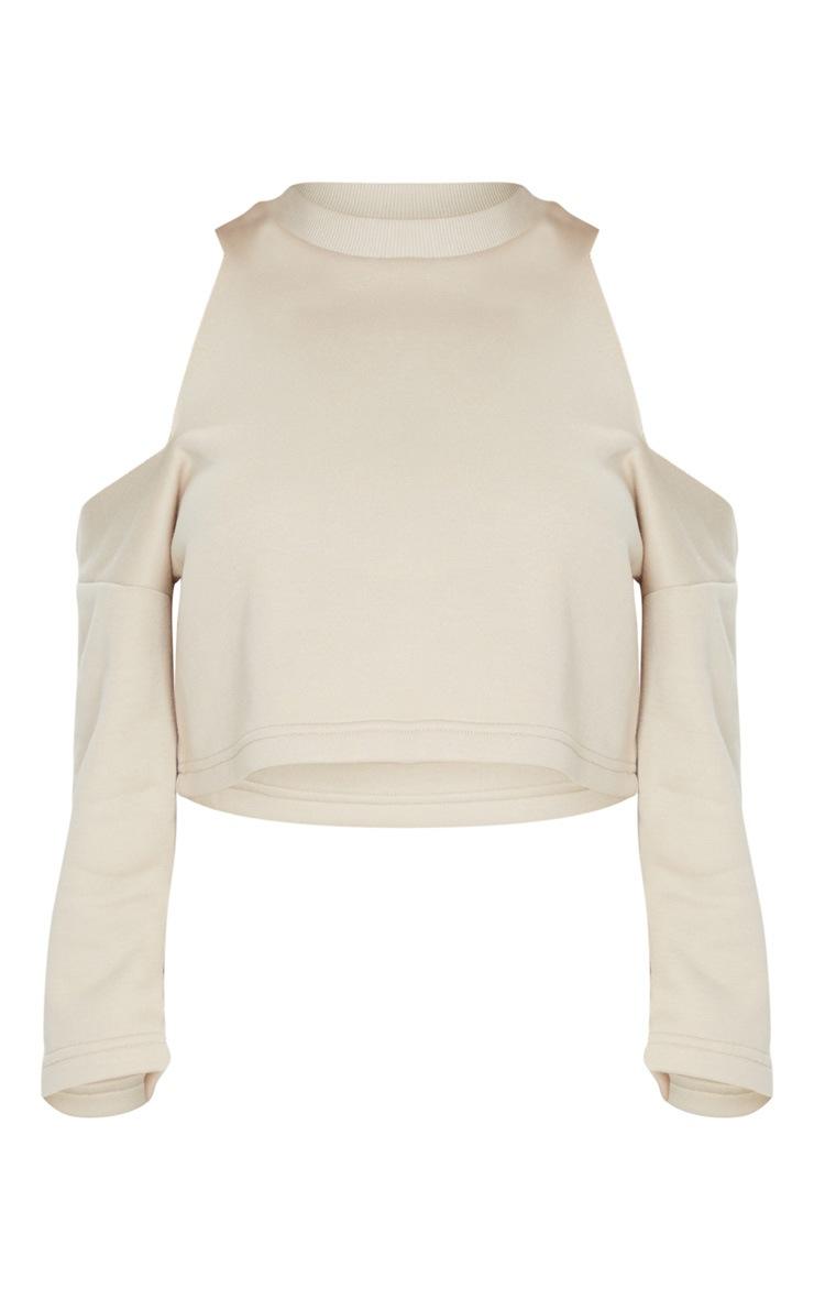 Sand Cut Out Shoulder Cropped Sweatshirt 5