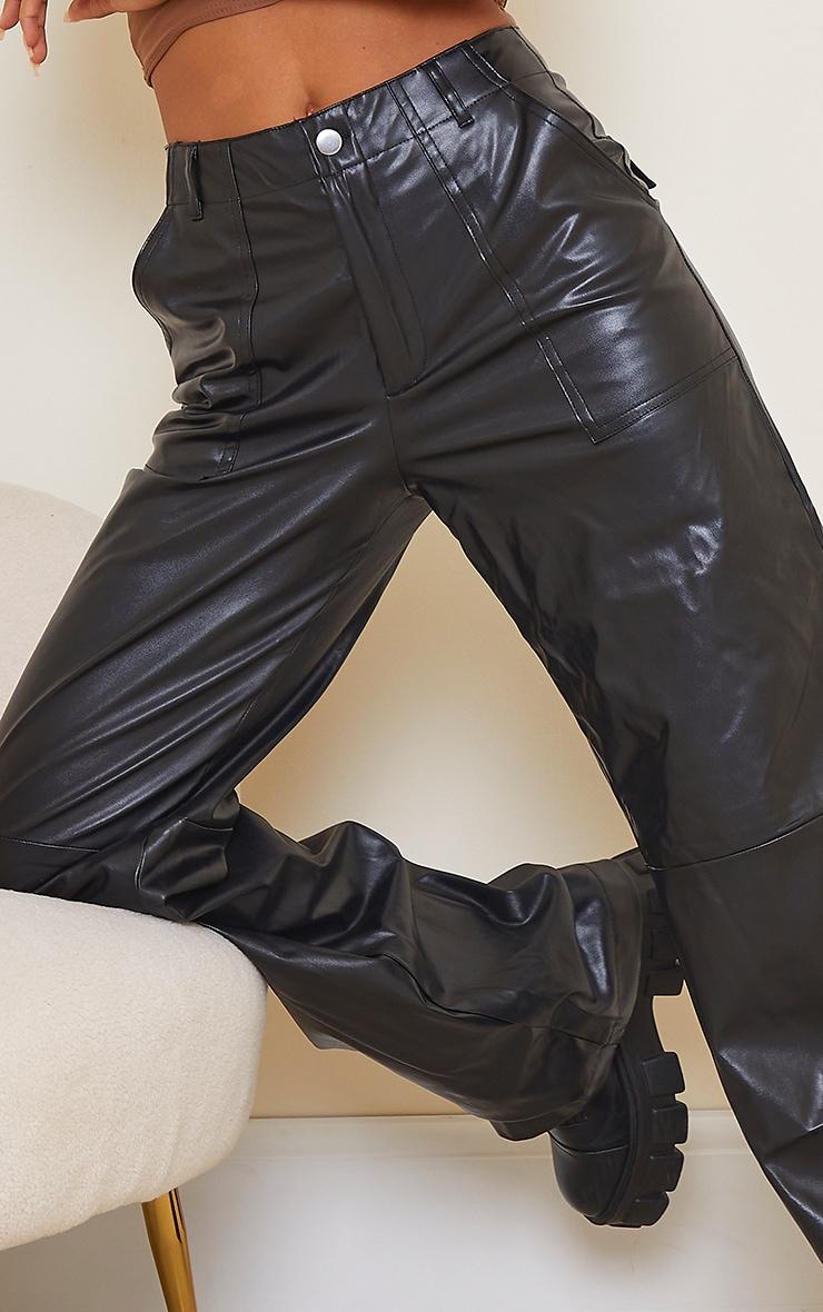 Black Faux Leather Stitch Detail Wide Leg Trouser 4