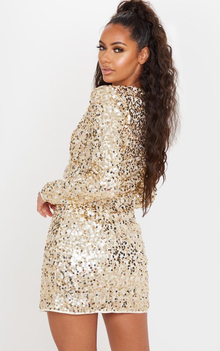 Gold Sequin Long Sleeve Blazer Dress 2