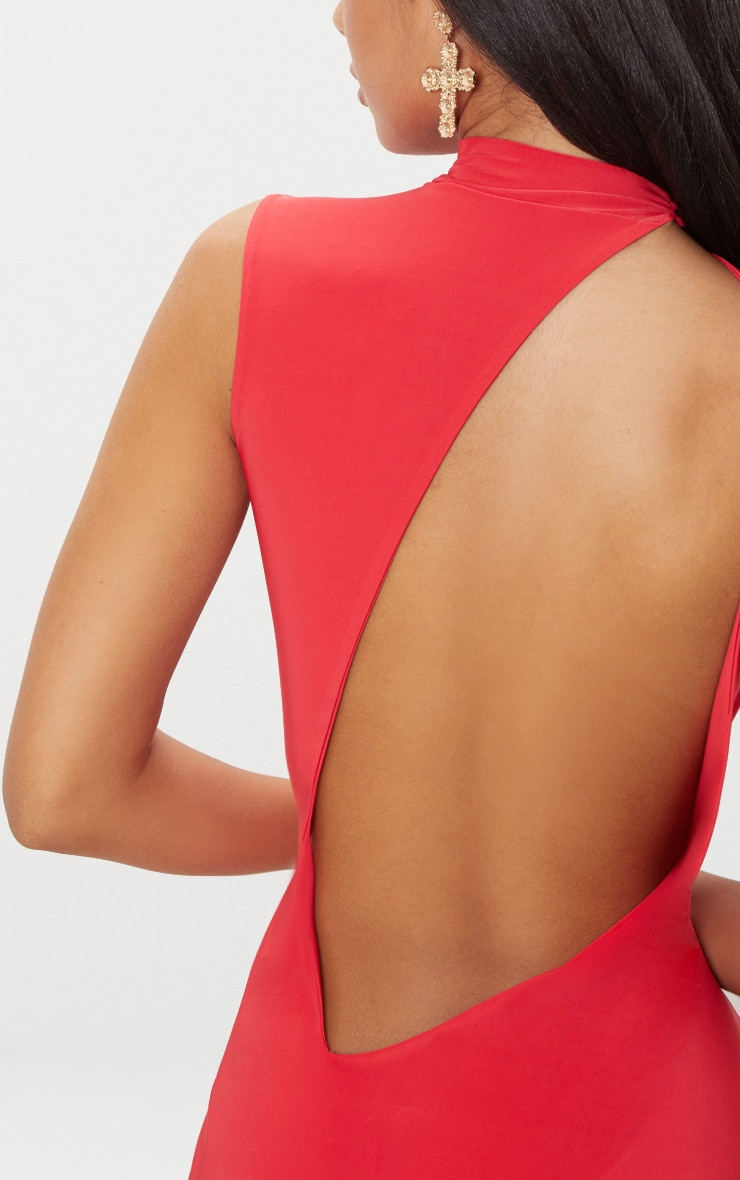 Red Slinky Cut Out Back Maxi Dress 4