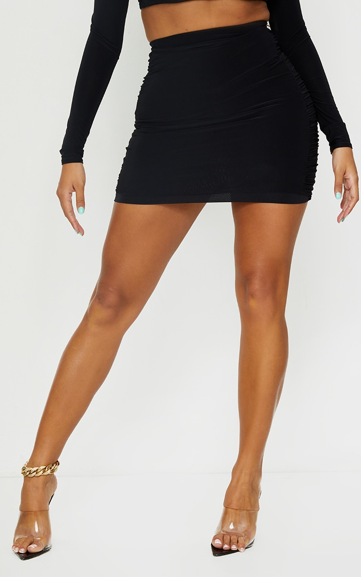Shape Black Slinky Extreme Ruched Side Bodycon Skirt 2