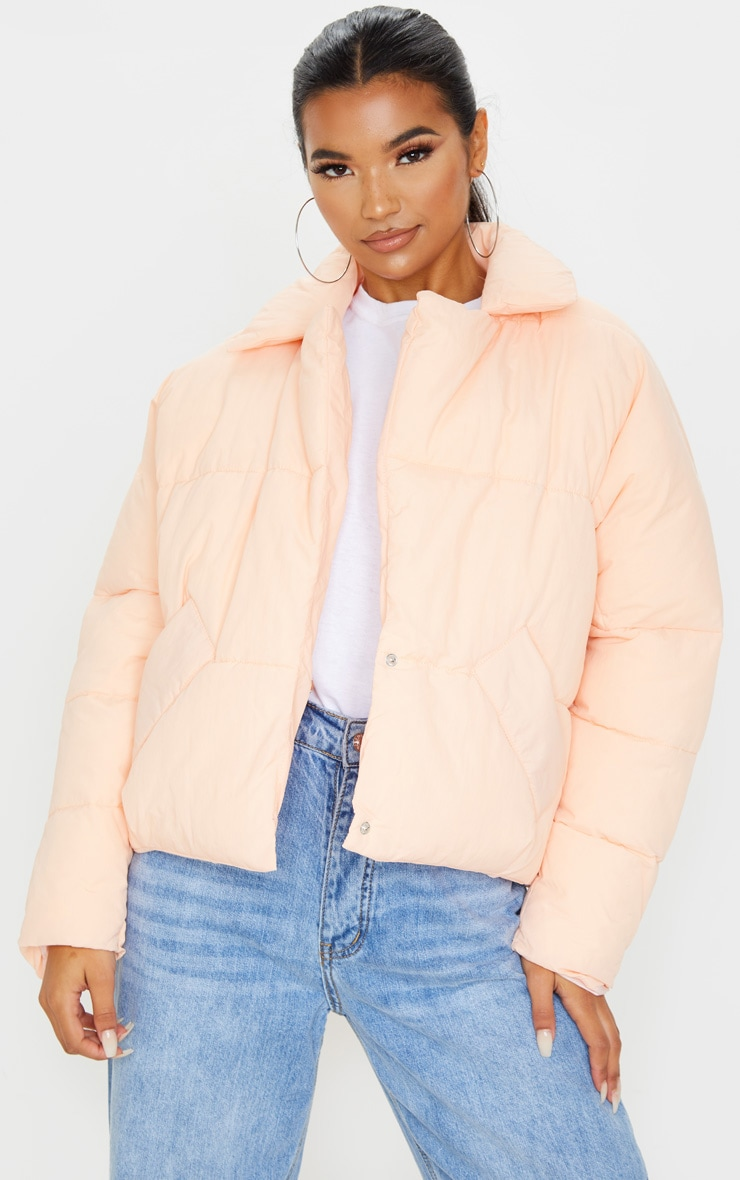 Pink Peach Skin Oversized Cropped Puffer 1