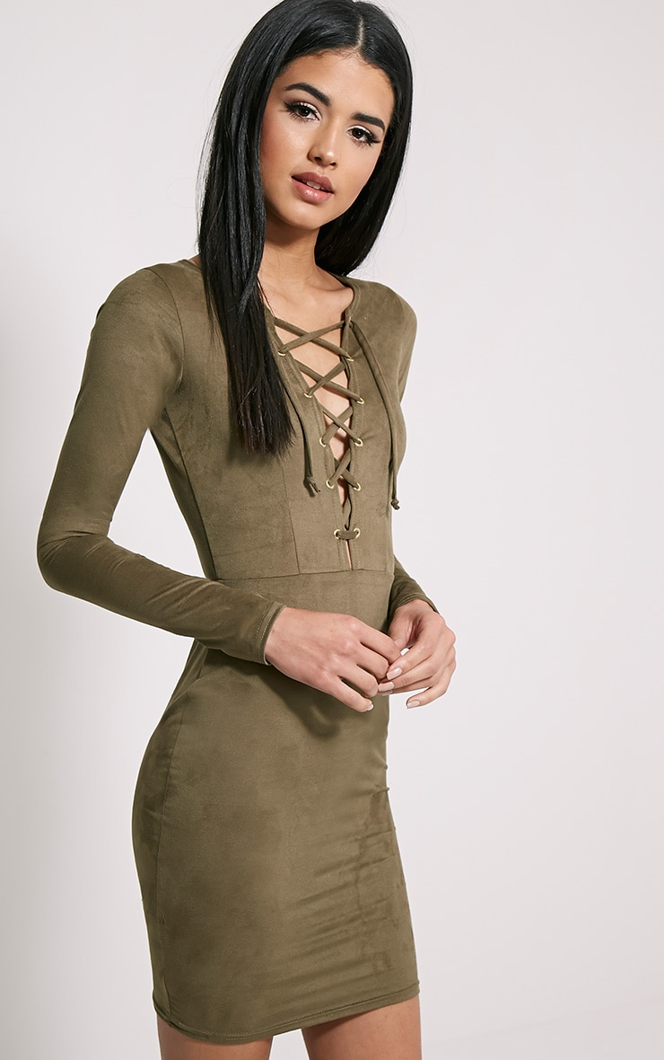 Solita Khaki Faux Suede Lace Up Mini Dress 4