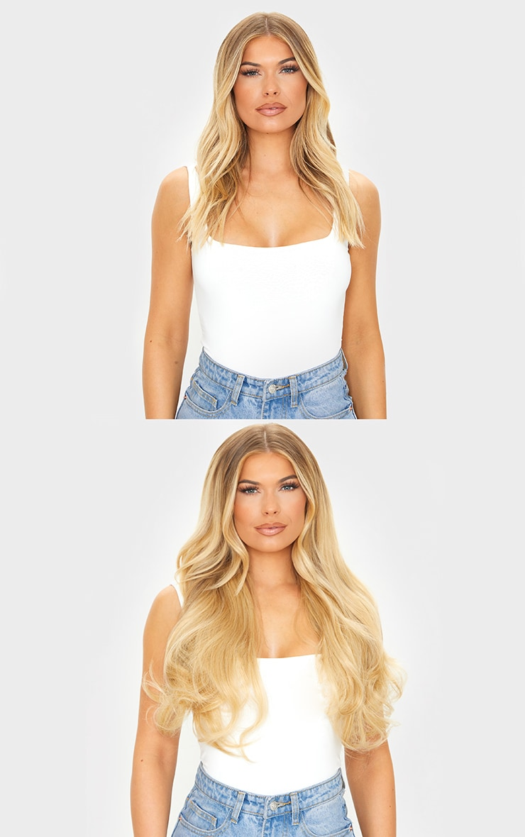 LullaBellz Super Thick 16'5 Piece Blow Dry Wavy Clip In Hair Extensions Golden Blonde 3