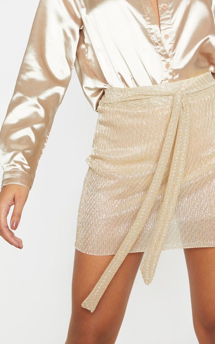 Gold Plisse Tie Waist Mini Skirt  6