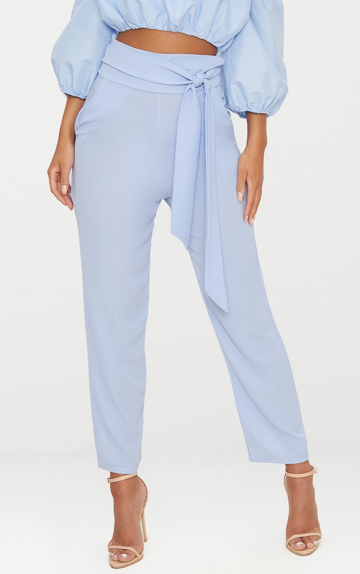 Blue Pebble Crepe Tie Waist Cigarette Trouser 2