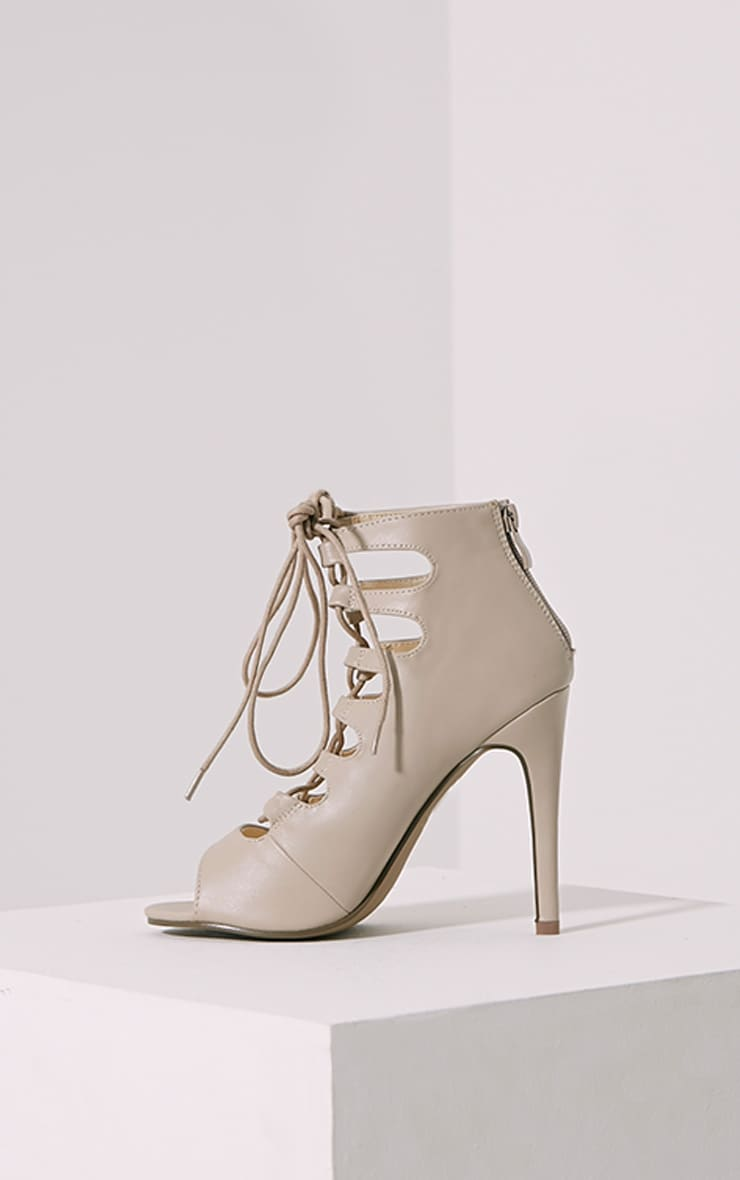 Tiggy Nude Lace Up Heeled Sandals 4
