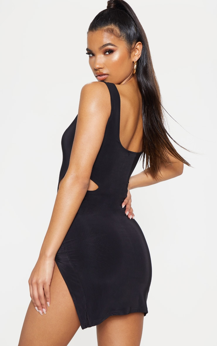 Black Slinky Cut Out Bodycon Dress 2