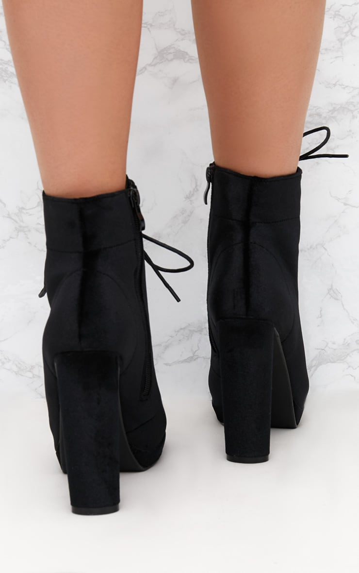 Black Velvet Lace Up Heeled Ankle Boot 4