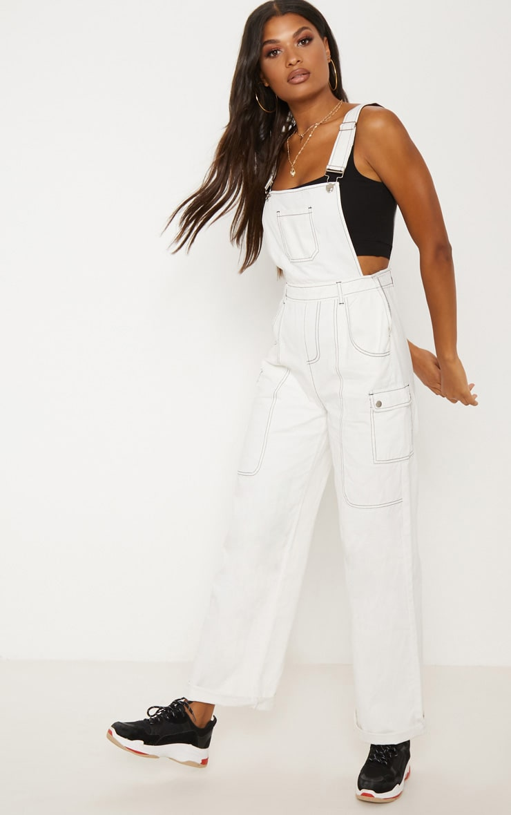 White Denim Wide Leg Dungarees 5