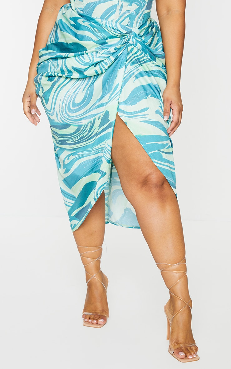 Plus Blue Abstract Print Ruched Side Midi Skirt 2
