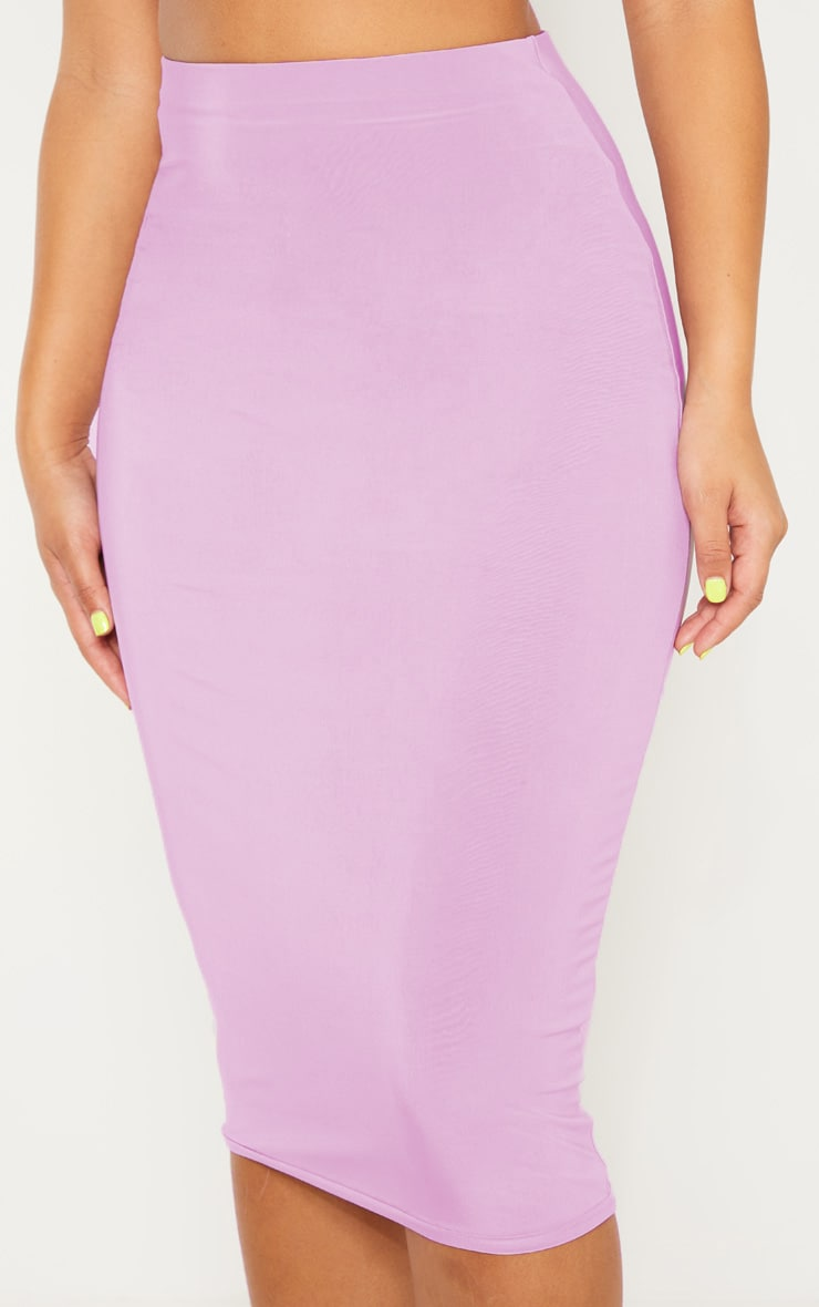 Lilac Second Skin Slinky Midi Skirt 5
