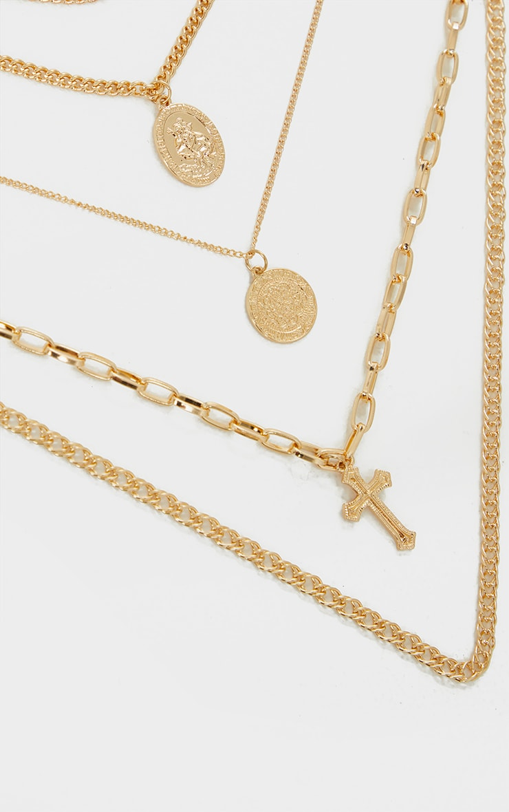 Gold Multi Coin And Cross Layering Necklace 3