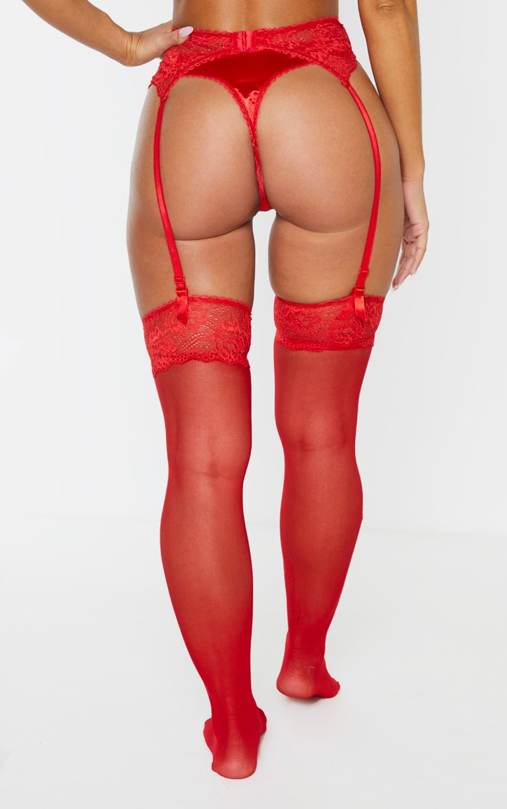 Red Suspender, Hold Up & Knickers Set 2