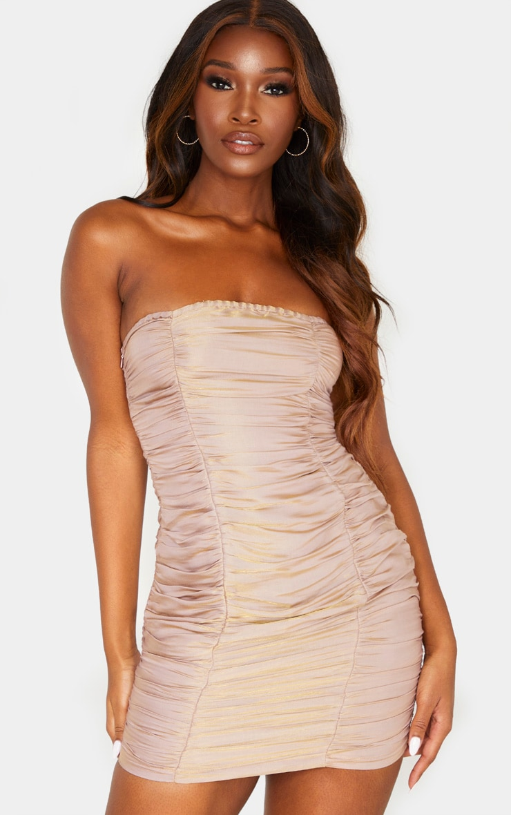 Dusty Pink Iridescent Ruched Bandeau Bodycon Dress 1
