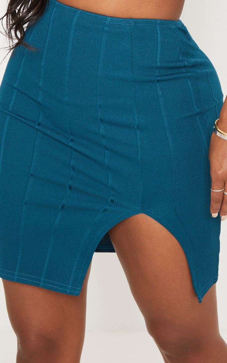Shape Teal Bandage Bodycon Skirt 5