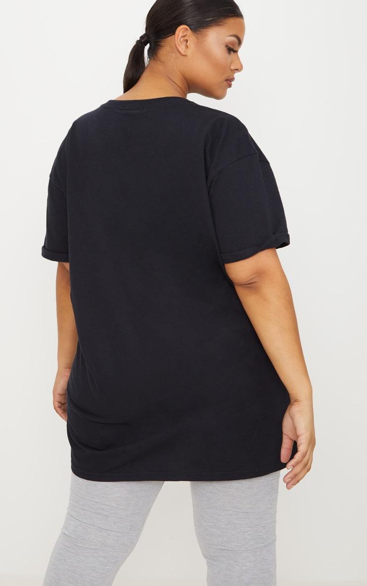 Plus Black Oversized Boyfriend T Shirt  2